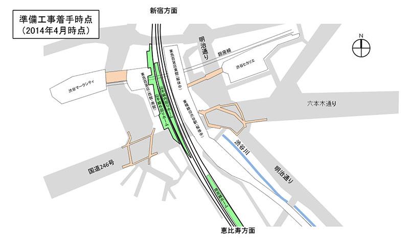 2014年4月時点の渋谷駅のホーム配置