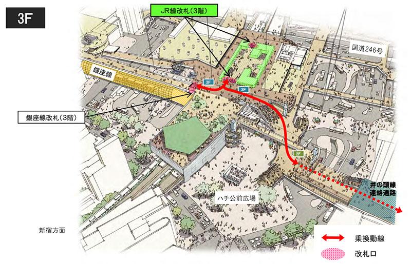 完成時の渋谷駅の乗り換え導線(3階コンコース)
