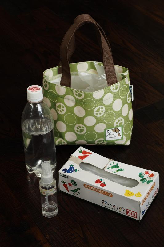お散歩バッグ。ペットボトルの入った水、ビニール袋、ティッシュペーパー、犬用の虫除け。ビニール袋とティッシュペーパーはいつもより多めに持っていきました