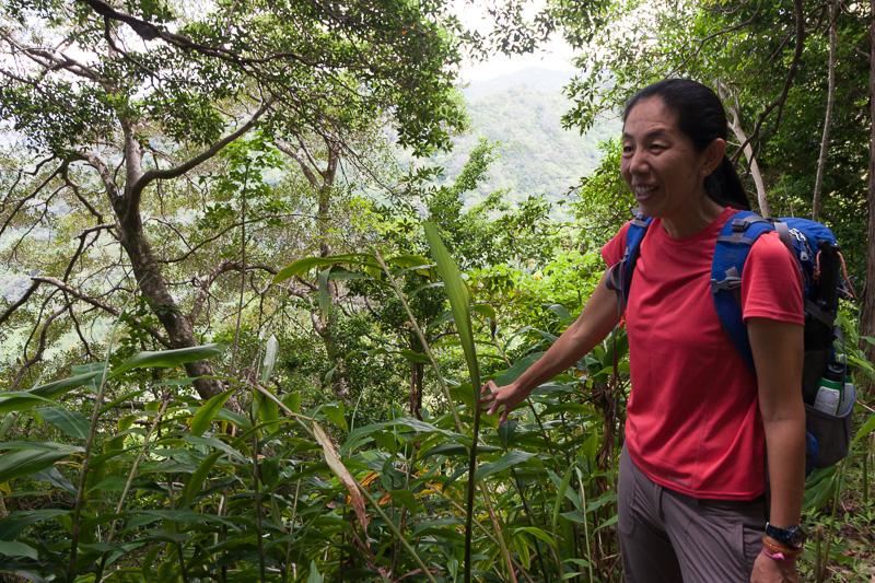 ガイドをしていただいたアロハアイナエコツアーズの長坂まり子さん。日本人のため、日本語バッチリ、植物などハワイの知識もバッチリ