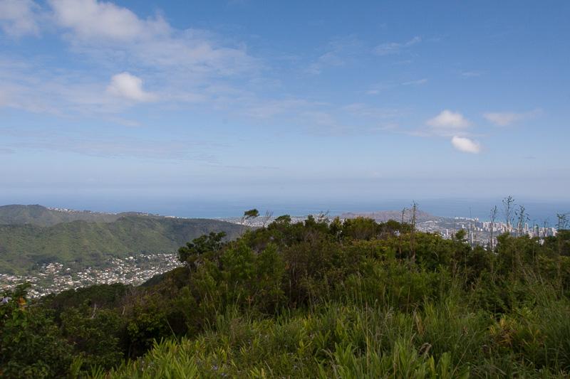 タンタラス山頂からの眺め。右がワイキキエリア、左がココヘッドなどのエリア。360度視界が開けている