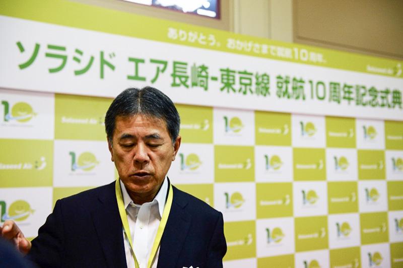 式典後、報道陣に展望を語ってくれた髙橋社長