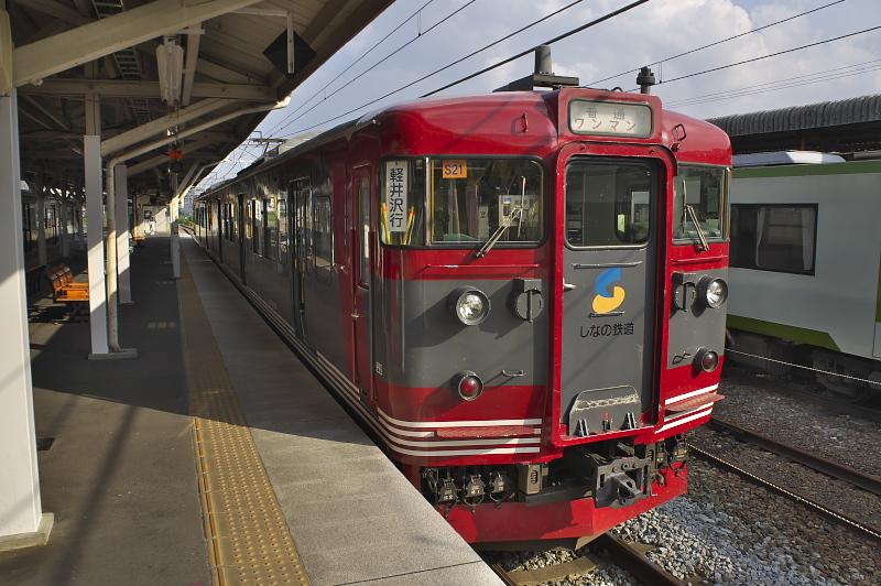 JR東日本からしなの鉄道に譲渡された、しなの鉄道カラーの115系が出迎えてくれた