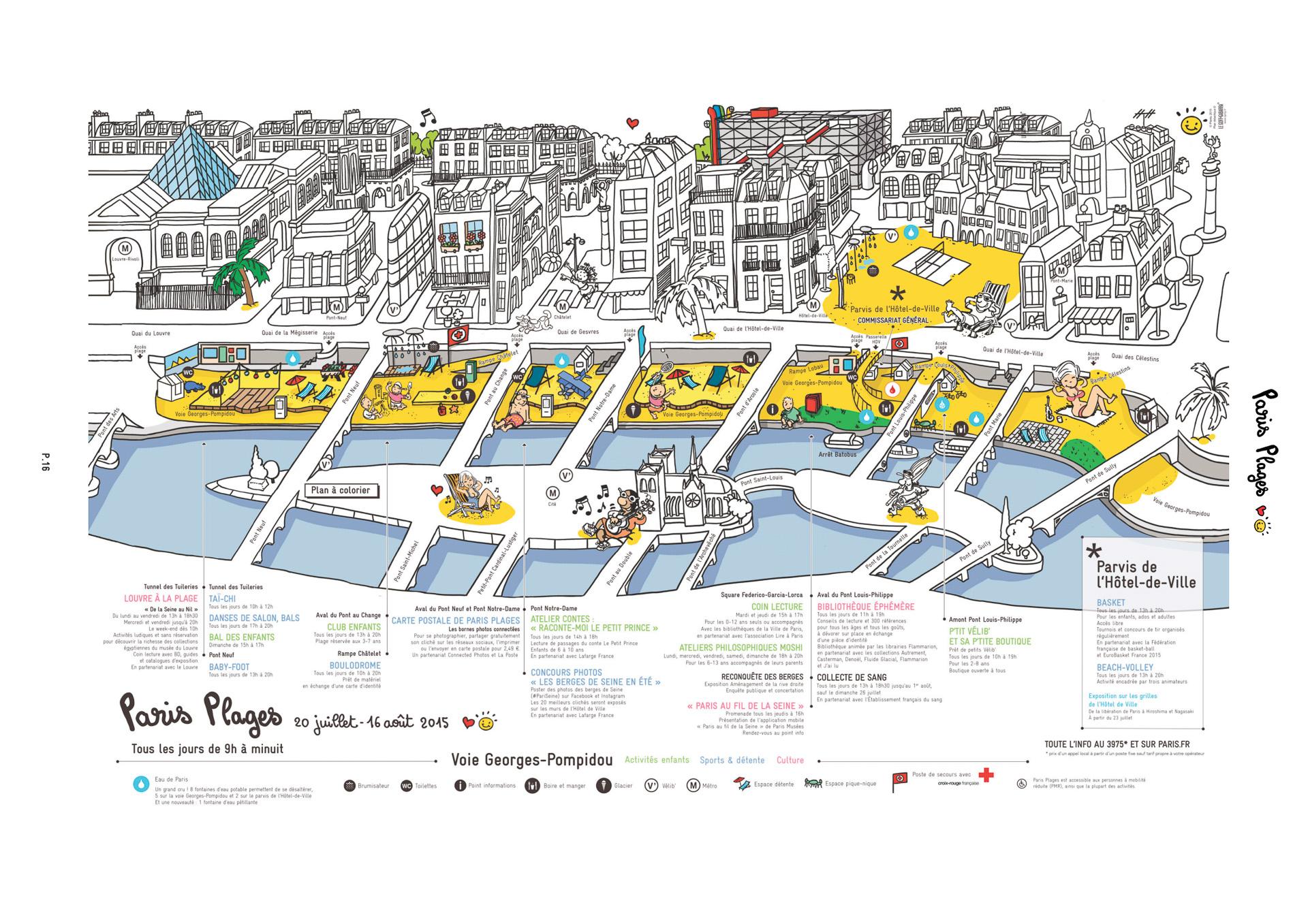 セーヌ川沿いのパリ海岸マップ(パリ市が公開している案内図)