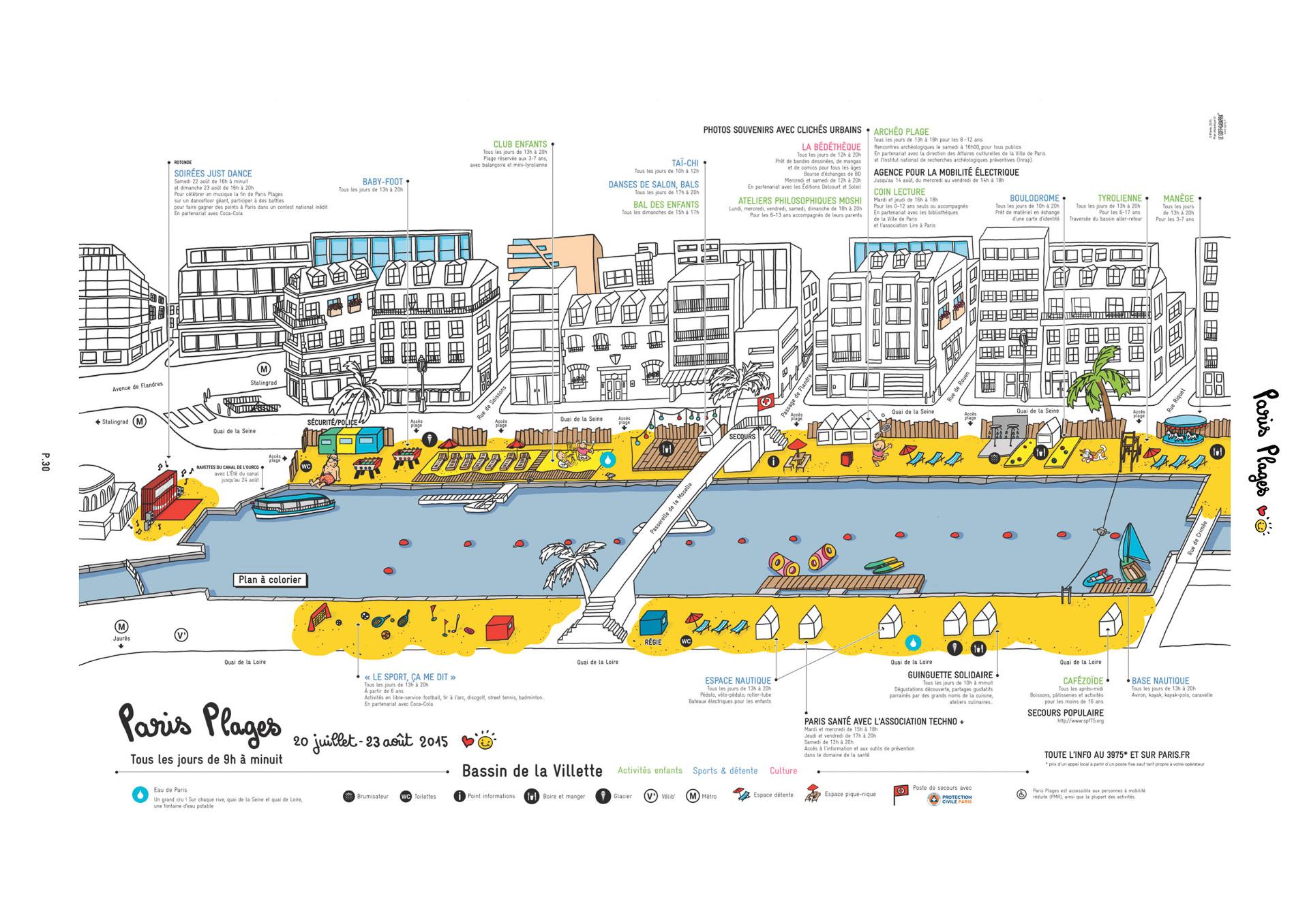 ヴィレット貯水池周辺のパリ海岸マップ(パリ市が公開している案内図)
