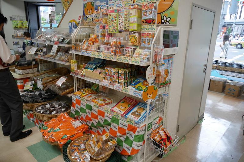 1階の特産品ショップでは、「みきゃんフェア」と題し、8月31日までさまざまなみきゃんグッズを販売