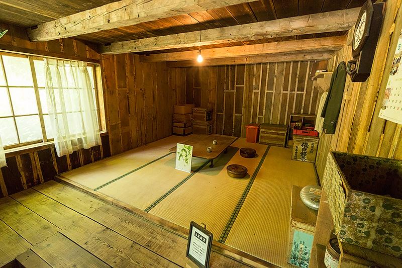 最初の家の内部。一部内装にビニールが使われている