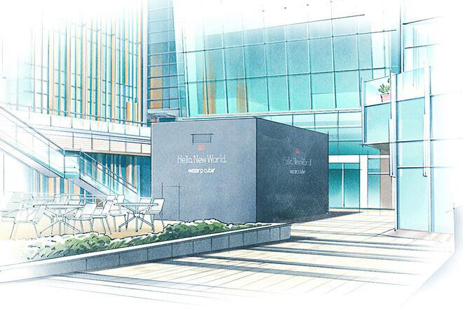 東京ミッドタウン 地下1階のコートヤードに巨大キューブを設置