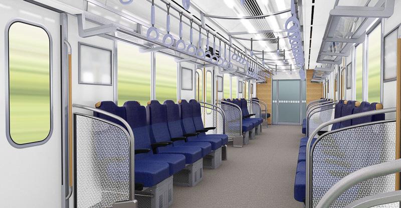一般的な通勤車両と同じロングシートの状態