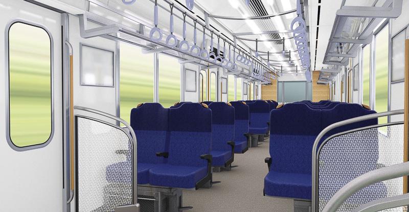 一部の編成では、シートが2席ずつ90度回転し、クロスシートの状態になる
