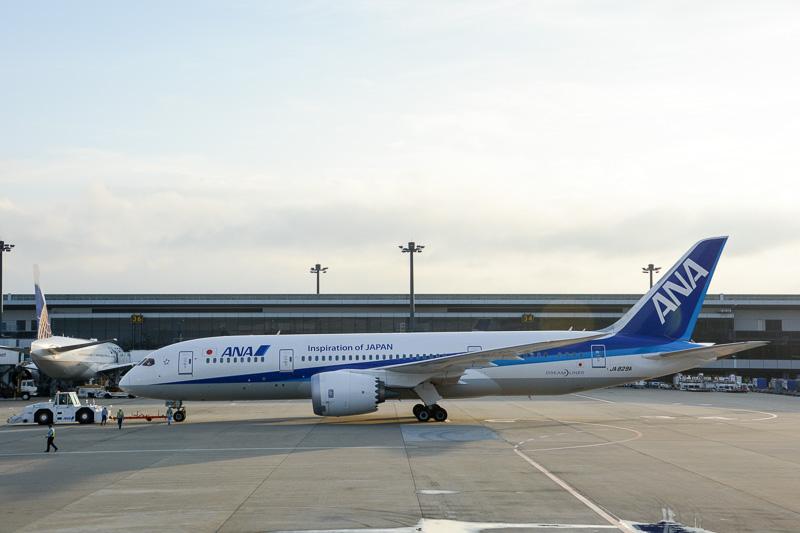 初便の使用機材となったボーイング 787-8(登録記号:JA829A)。定刻の17時20分に、傾きかけた陽の光を浴びながらプッシュバック