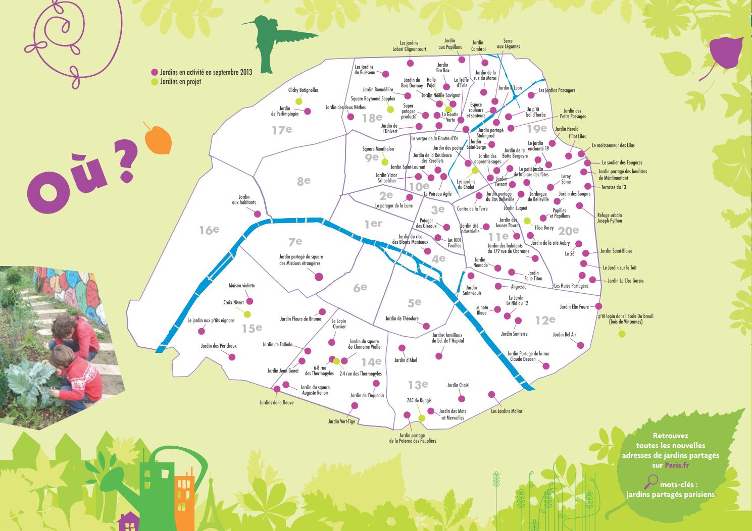 パリ北東を中心に多数の共有庭園があります。画像はパリ市が公開しているJardin partageマップ