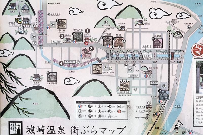 このようなマップが街中の要所にあるので、道に迷うことはない。温泉マークの箇所が7湯ある外湯