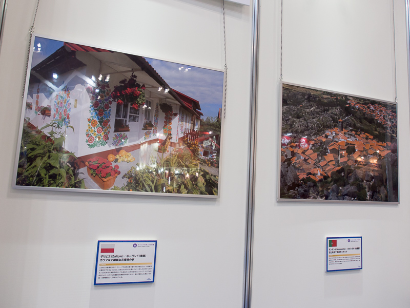 掲載された村の一例。ポーランド・ザリピエのカラフルな家(左)と石と共存する同モンサント(右)