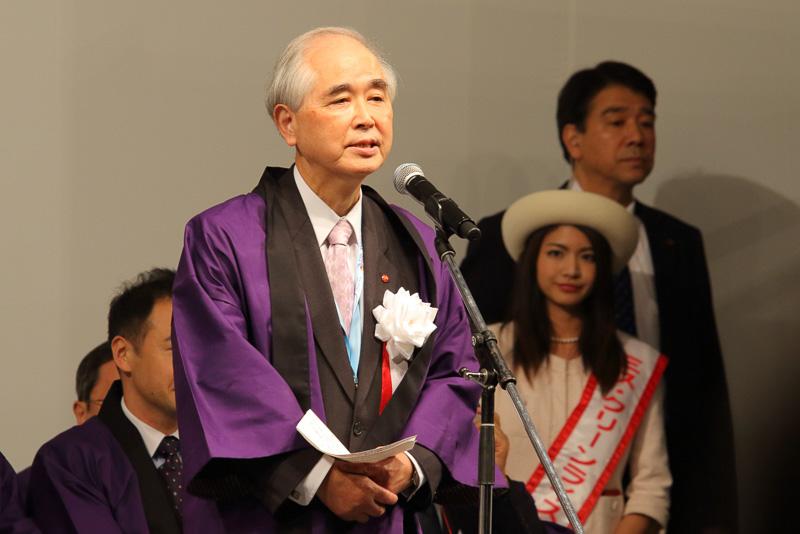 主催者挨拶を行なう日本観光振興協会 会長 山口範雄氏