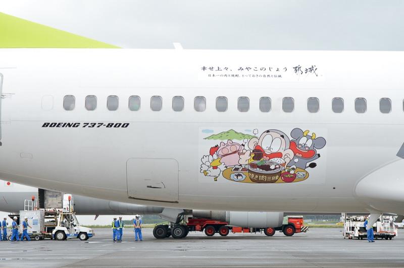 JA805Xに採用された「ぼんちくん」のイラスト。主翼の後部に貼られていた