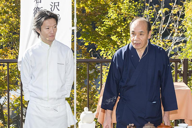 伊右衛門のマスターブレンダー、福寿園の茶匠 谷口良三氏と「TAKAZAWA」のオーナーシェフ 高澤義明氏