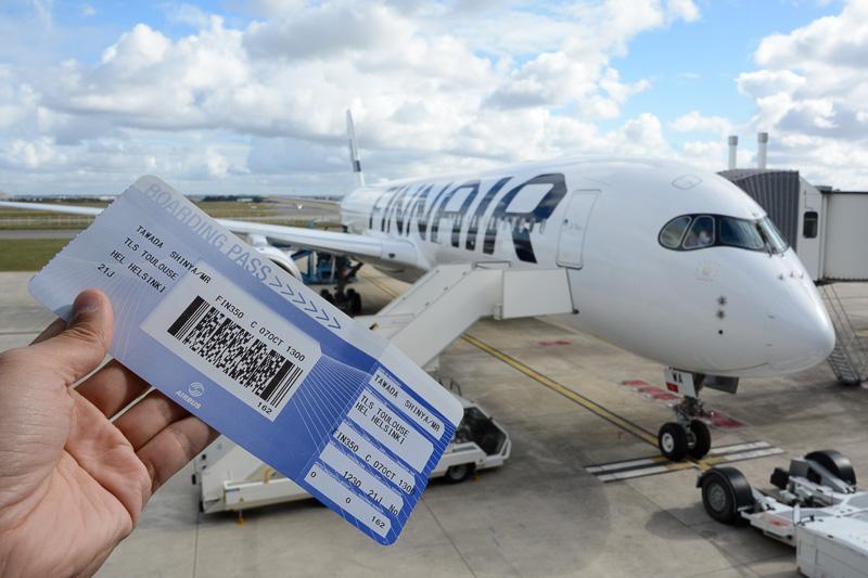 トゥールーズからヘルシンキへのフェリーフライトに搭乗。エアバスのボーディングパスが珍しい