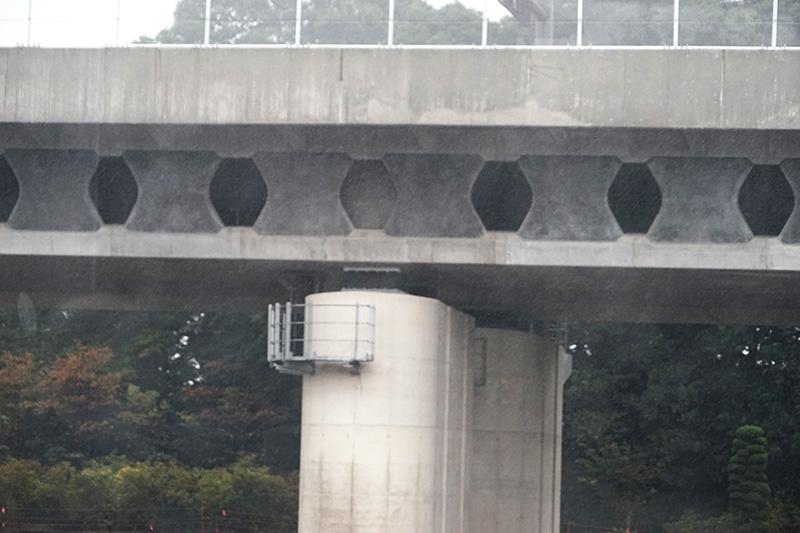この部分の高架はバタフライウェブ橋と呼ばれ、蝶型のウェブパネルを使っている