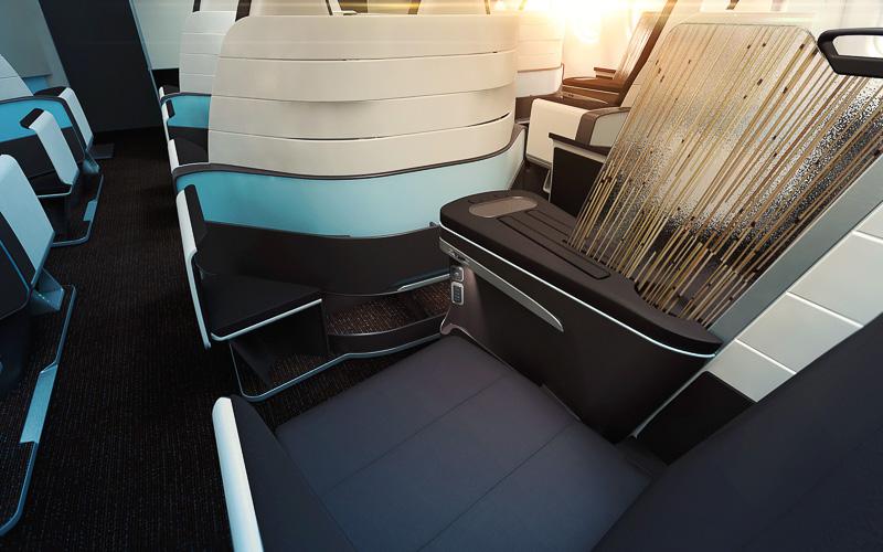 ハワイアン航空が新たに導入するフルフラットシート。2-2-2配置となるが、隣席との間に上下するセパレータを設置