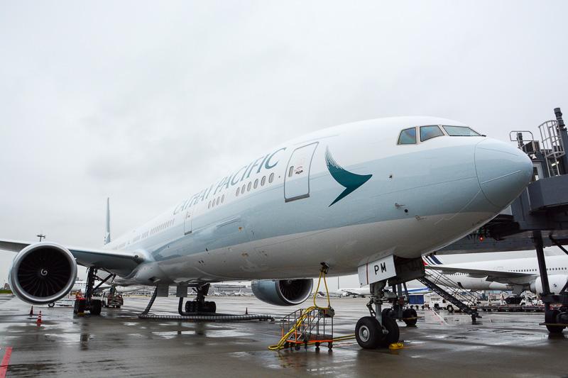 11月2日に羽田空港に到着した、キャセイパシフィック航空の新デザイン機