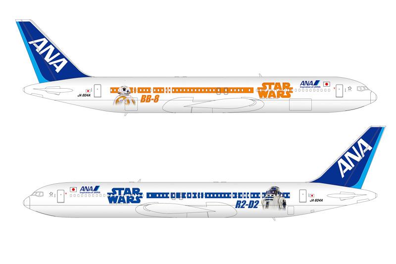 「STAR WARS ANA JET」の国内線専用機(ボーイング 767-300型機)のデザイン