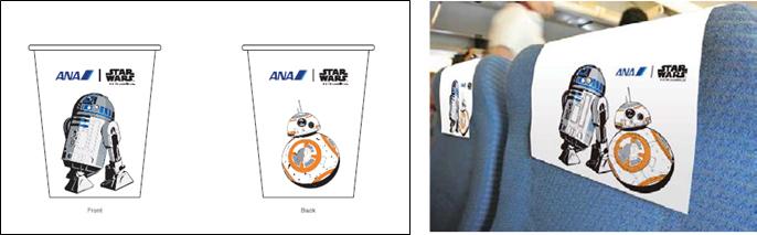 「STAR WARS ANA JET」では専用デザインの紙コップやヘッドレストカバ-を使用