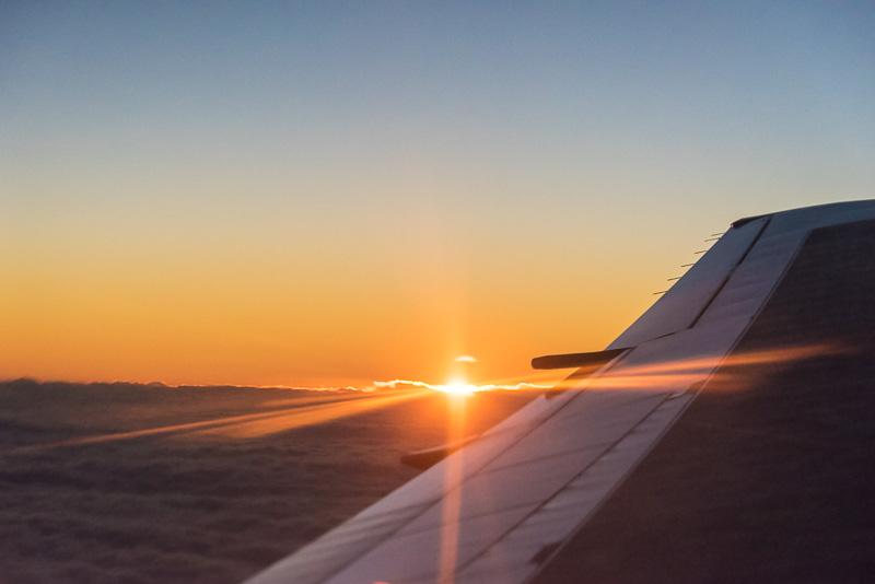 機内から見える初日の出(2015年1月1日の初日の出フライトより)