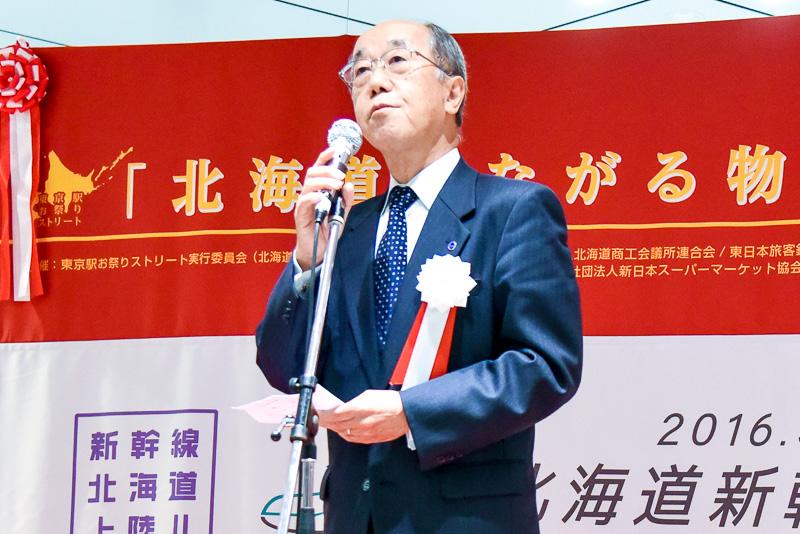 北海道観光振興機構 副会長 山本邦彦氏。今回の東京駅スペシャルジャックについて説明