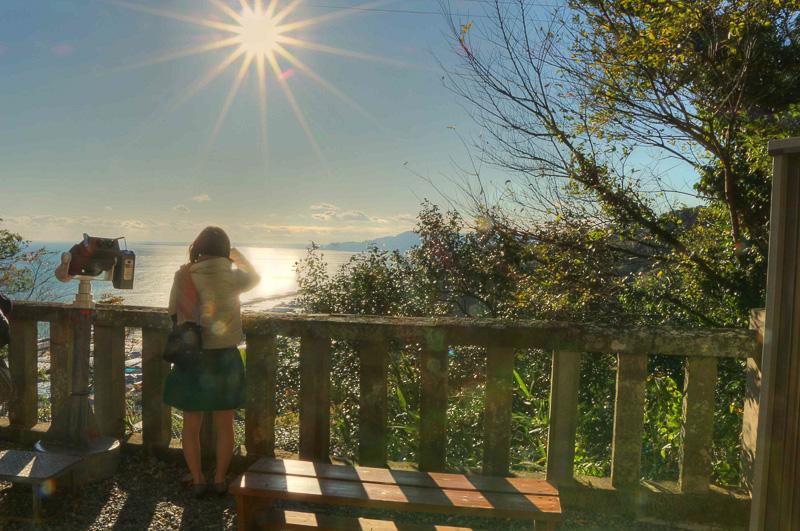 ロープウェイの駅から、午後には陽射しで輝く駿河湾が眺められる。日本平から久能山の間の紅葉は、訪れた11月27日ではまだ始まったところ。この週末辺りから彩りが濃くなり見ごろを迎えるようだ