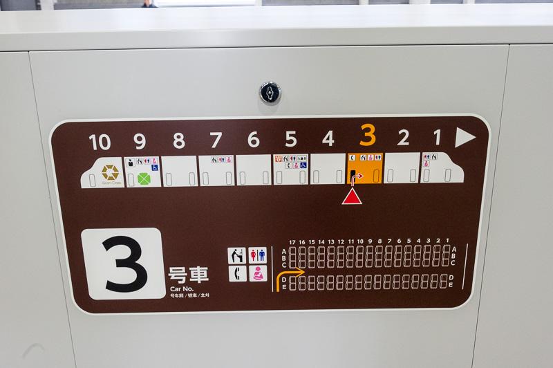 ホームドアには号車案内を掲出。あらかじめ自分の席の位置を確認できる