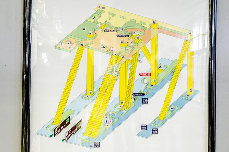 新函館北斗駅の構内図。地上ホームと2階に改札がある橋上駅舎構造。左側が新幹線ホーム、右側が在来線ホーム