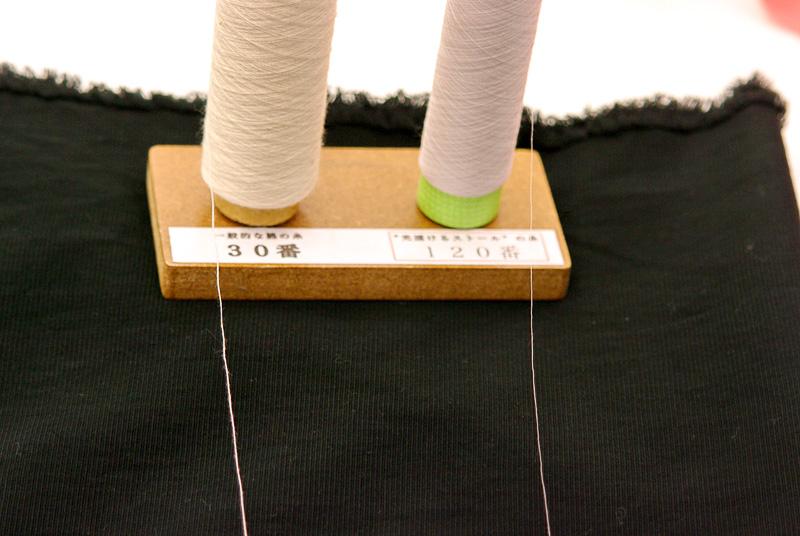 30番手と120番手の綿糸。細さが違うのが一目瞭然だ