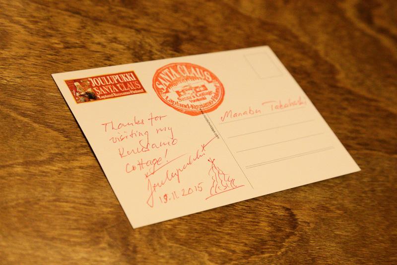 食事をした1人1人にサンタクロースからカードが手渡されました。決して若くはない筆者ですが、こういう旅の思い出はなかなかうれしいものです。いや、かなりうれしかったデス