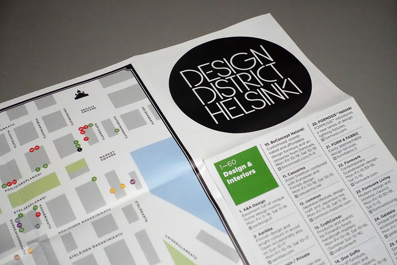 デザイン・ディストリクトに参加しているショップが網羅されたパンフレット