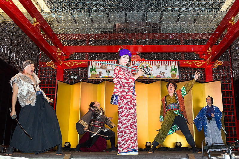 騒動の鍵を握る大江戸一座の女形、江戸川羽十郎が大立ちまわりを演じる