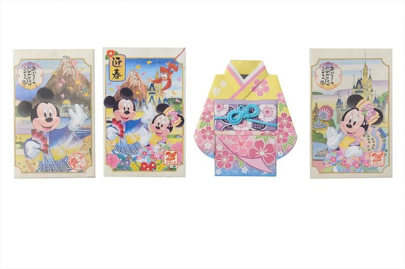 和服姿のミッキーマウスや、ミニーマウスのイラストが描かれたポチ袋。「お年玉袋セット」(500円)、写真提供:オリエンタルランド