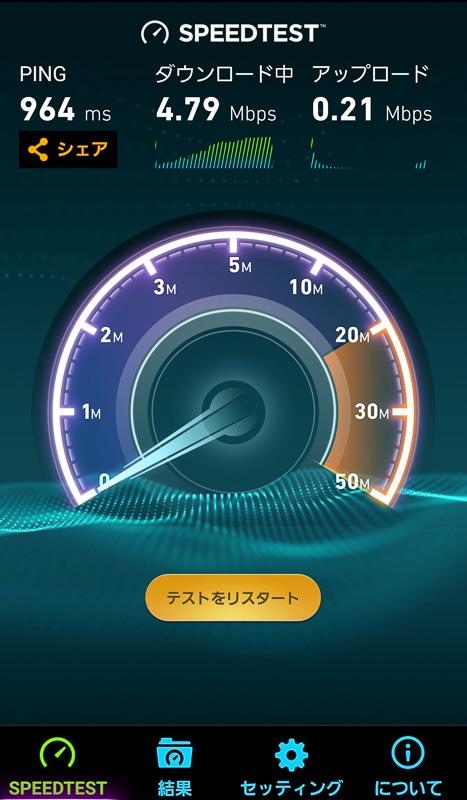 Speedtest.netアプリでは、ダウンロードが4.79Mbps、アップロードが0.21Mbpsを記録