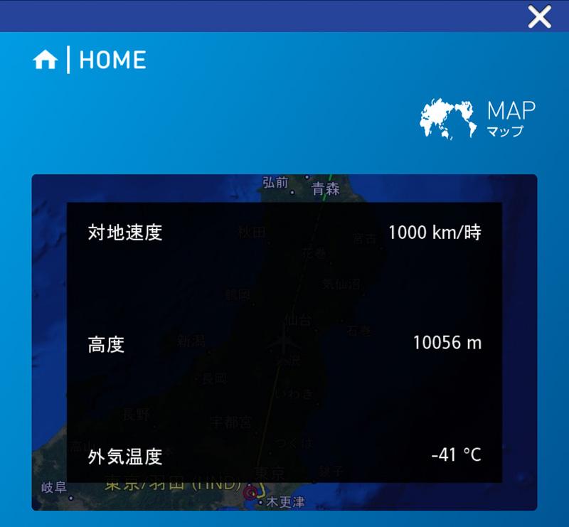 現在の速度や高度、外気温度なども表示