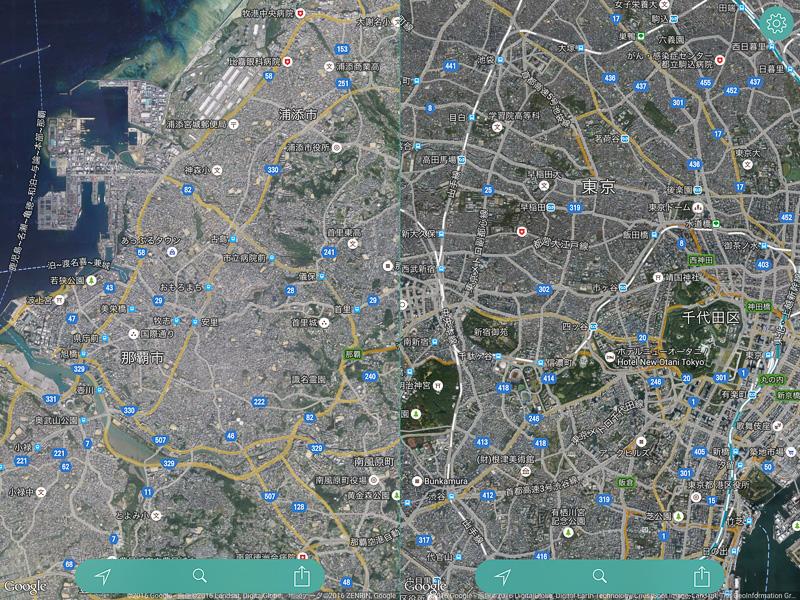 こちらは衛星写真を表示したところ。もう少しズームアップすれば住宅地の密集度が分かったりと、移動ルートなどを考える時に示唆を与えてくれることがある