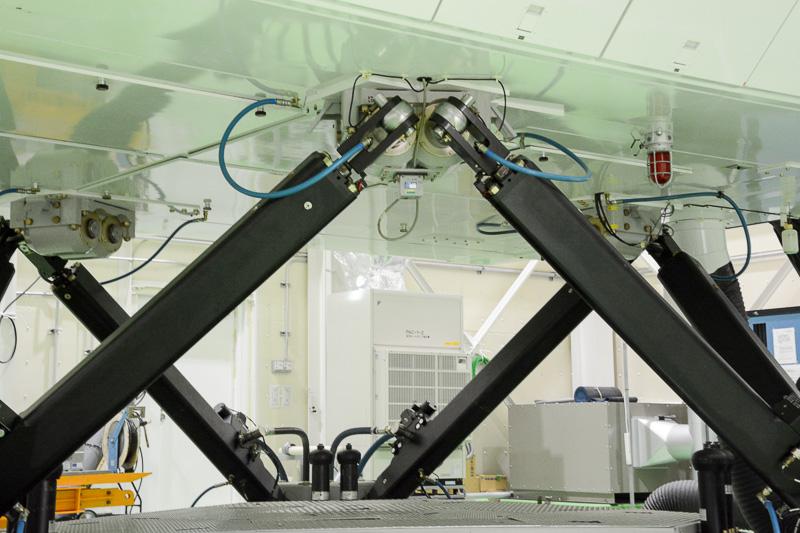 6本のアクチュエータによってコックピットが支えられている。これにより機体の挙動を感じられるモーションを付ける