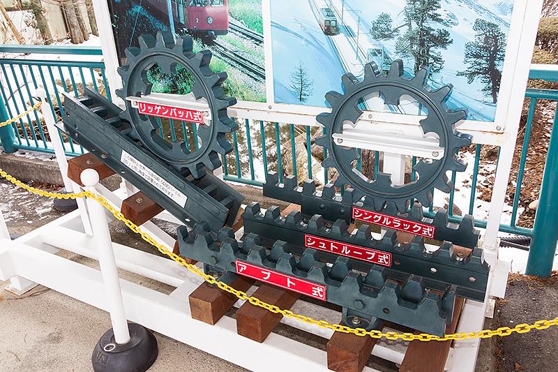駅構内にはアプト式鉄道を説明する展示があった
