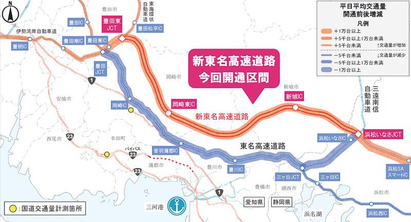 NEXCO中日本は2月24日、新東名高速道路の浜松いなさJCT(ジャンクション)から豊田東JCTまでが開通したことで、並行する東名高速道路の三ヶ日JCT~豊田JCT間にどのような影響があったのかを発表した