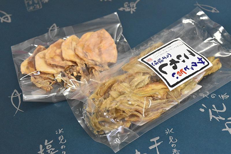 お土産クーポンを渡して干物をもらったのは堀与商店さん。ほかに2店舗が提携しています