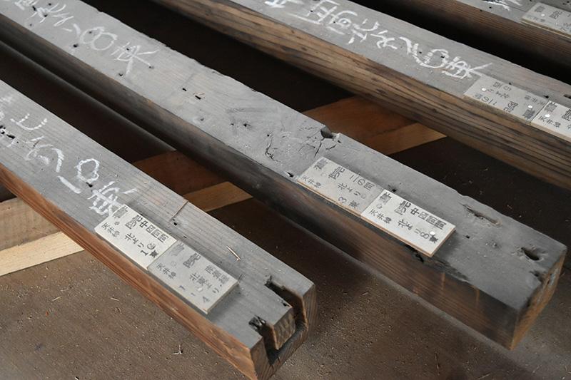 どこの場所で使われていた木材なのか細かく記録されていました
