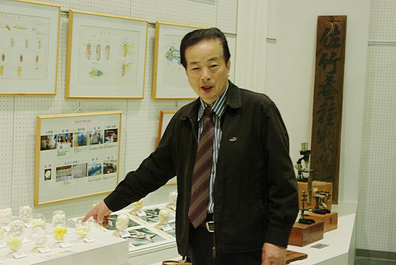 蚕の種類について説明する亀崎壽治館長