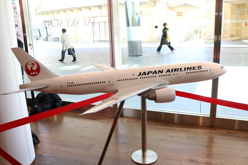 ボーイング 777-200ER型機の模型も展示