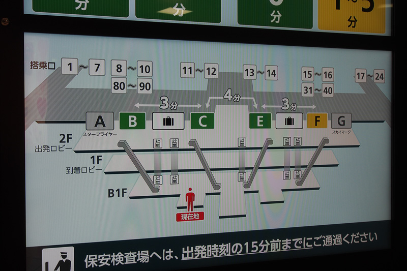 保安検査場の地図を下半分のモニターで表示。この部分はJALのお知らせ動画も交互に流れる