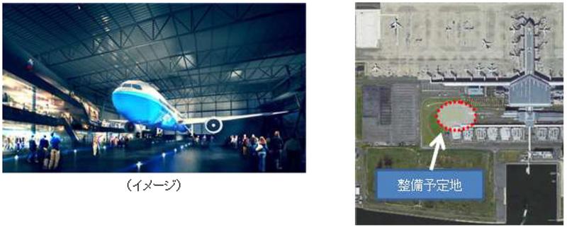 2017年度下期の供用開始を予定しているボーイング 787型機を屋内展示する複合商業施設