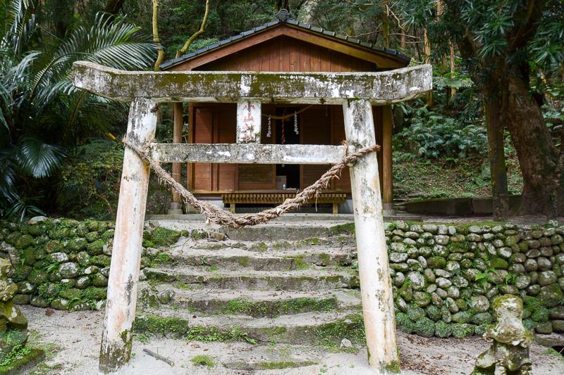 木に囲まれた林道を抜けて小山神社へ